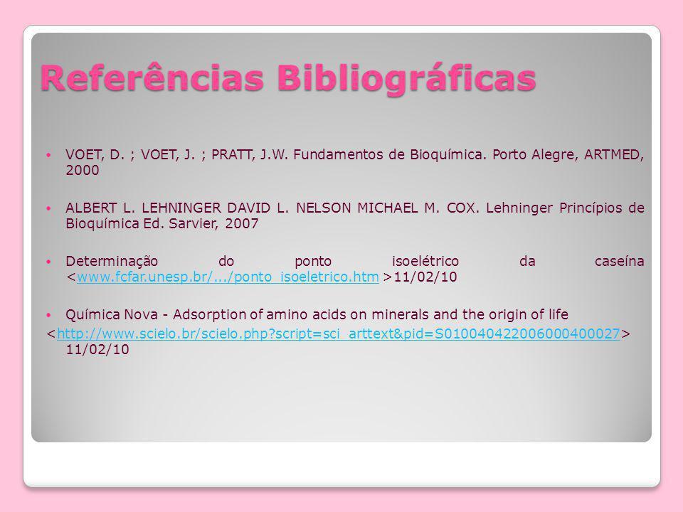 Referências Bibliográficas VOET, D. ; VOET, J. ; PRATT, J.W. Fundamentos de Bioquímica. Porto Alegre, ARTMED, 2000 ALBERT L. LEHNINGER DAVID L. NELSON