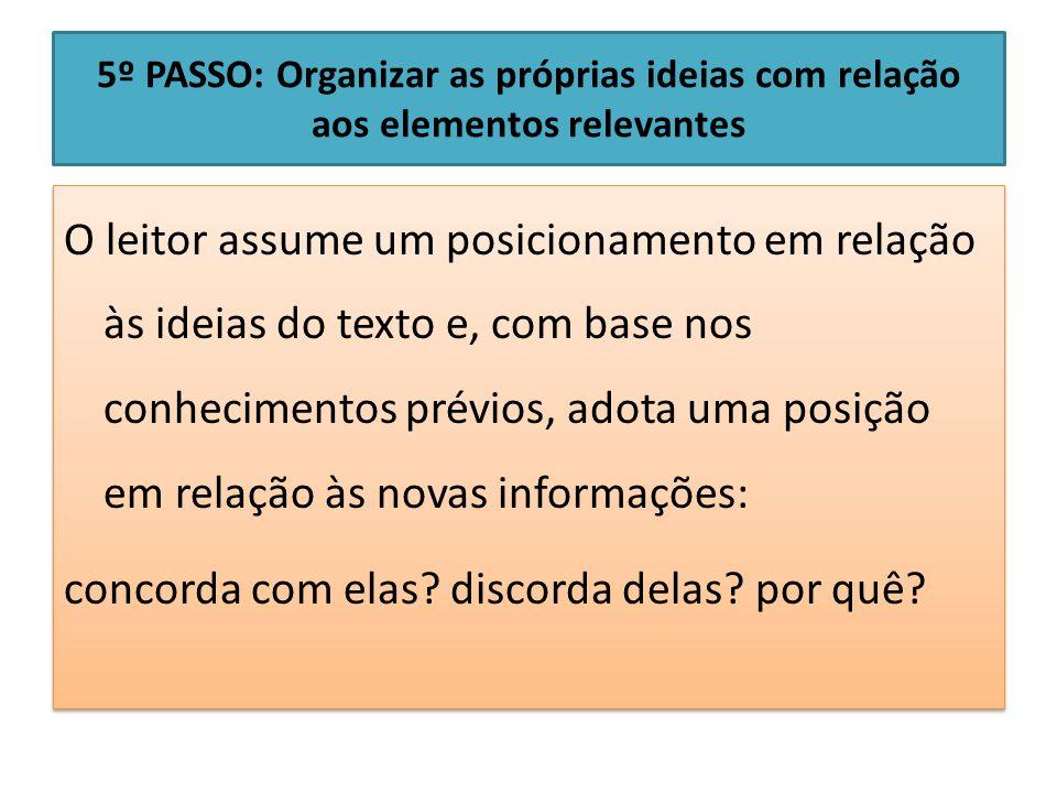5º PASSO: Organizar as próprias ideias com relação aos elementos relevantes O leitor assume um posicionamento em relação às ideias do texto e, com bas