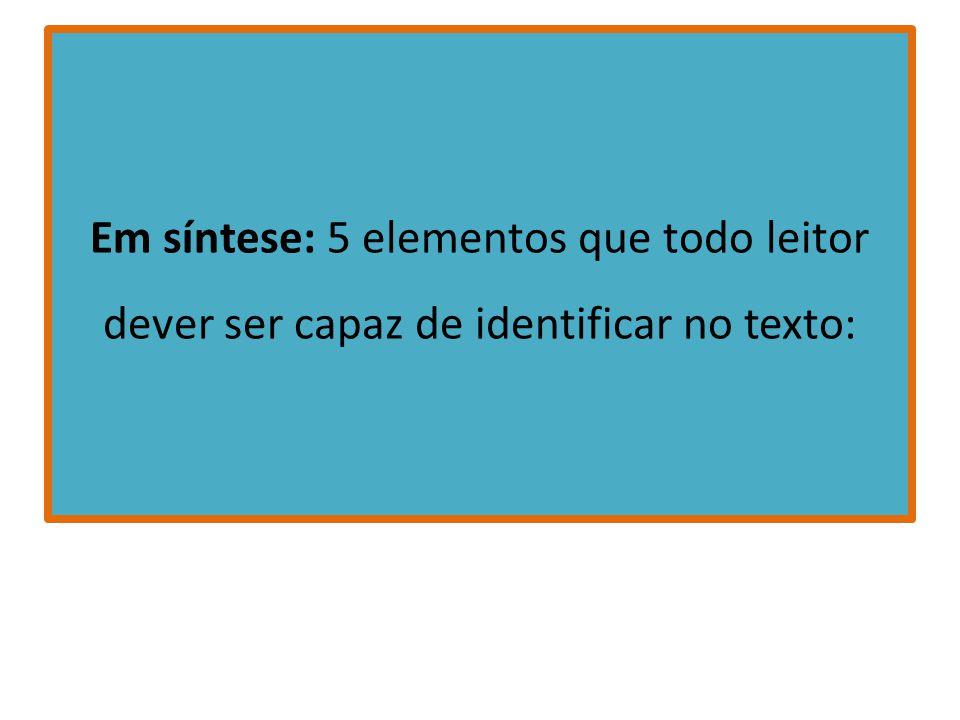 Em síntese: 5 elementos que todo leitor dever ser capaz de identificar no texto: