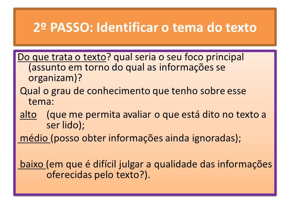 2º PASSO: Identificar o tema do texto Do que trata o texto? qual seria o seu foco principal (assunto em torno do qual as informações se organizam)? Qu