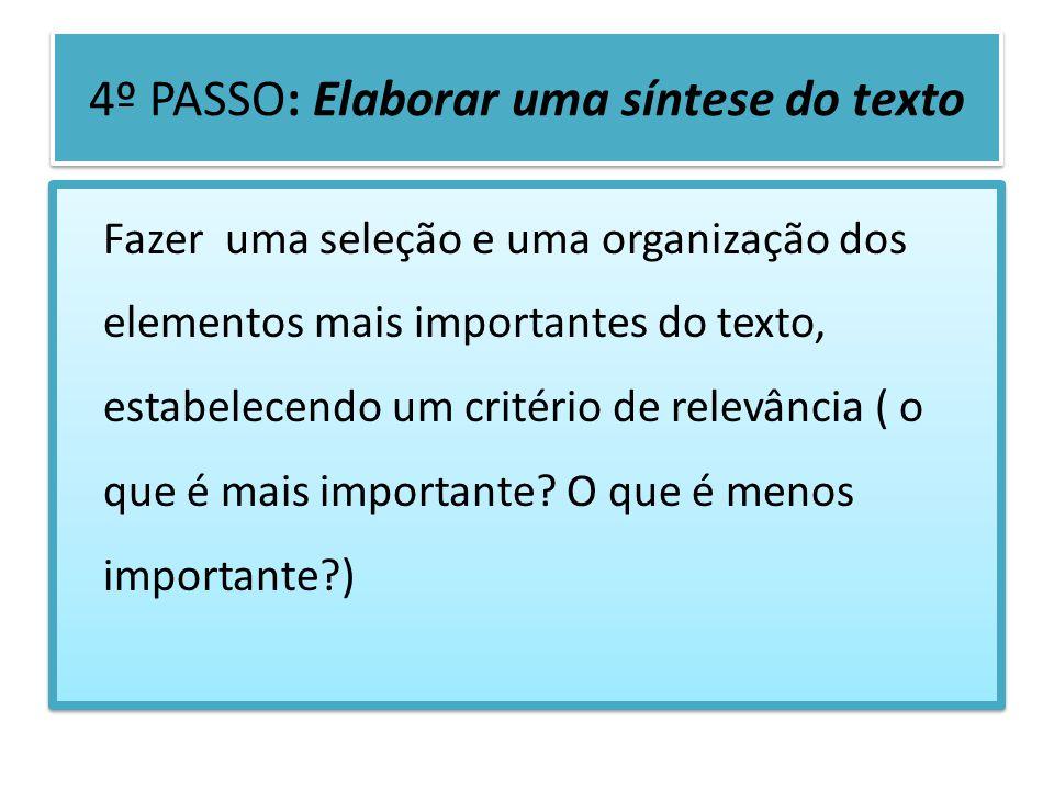 4º PASSO: Elaborar uma síntese do texto Fazer uma seleção e uma organização dos elementos mais importantes do texto, estabelecendo um critério de rele
