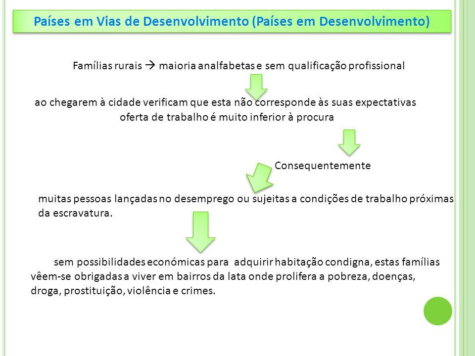 Países em Vias de Desenvolvimento (Países em Desenvolvimento) Famílias rurais  maioria analfabetas e sem qualificação profissional ao chegarem à cida