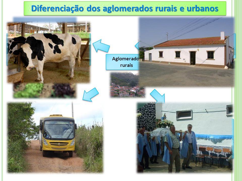 Diferenciação dos aglomerados rurais e urbanos PROFISSÕES As pessoas trabalham em actividades do setor primário (agricultura, criação de gado, etc) TR