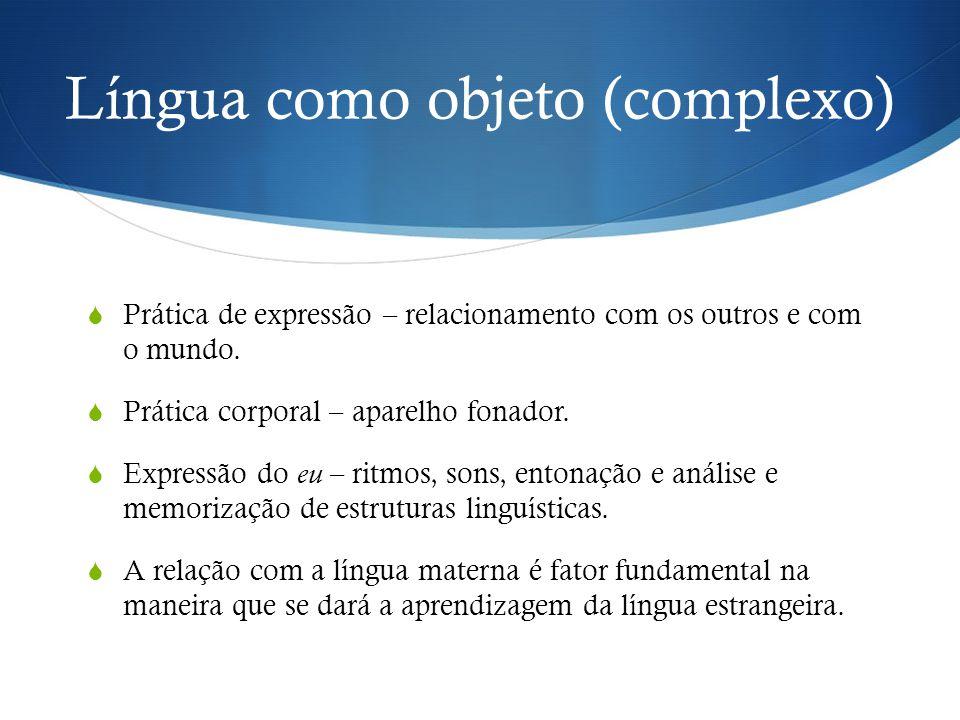 Língua como objeto (complexo)  Prática de expressão – relacionamento com os outros e com o mundo.  Prática corporal – aparelho fonador.  Expressão