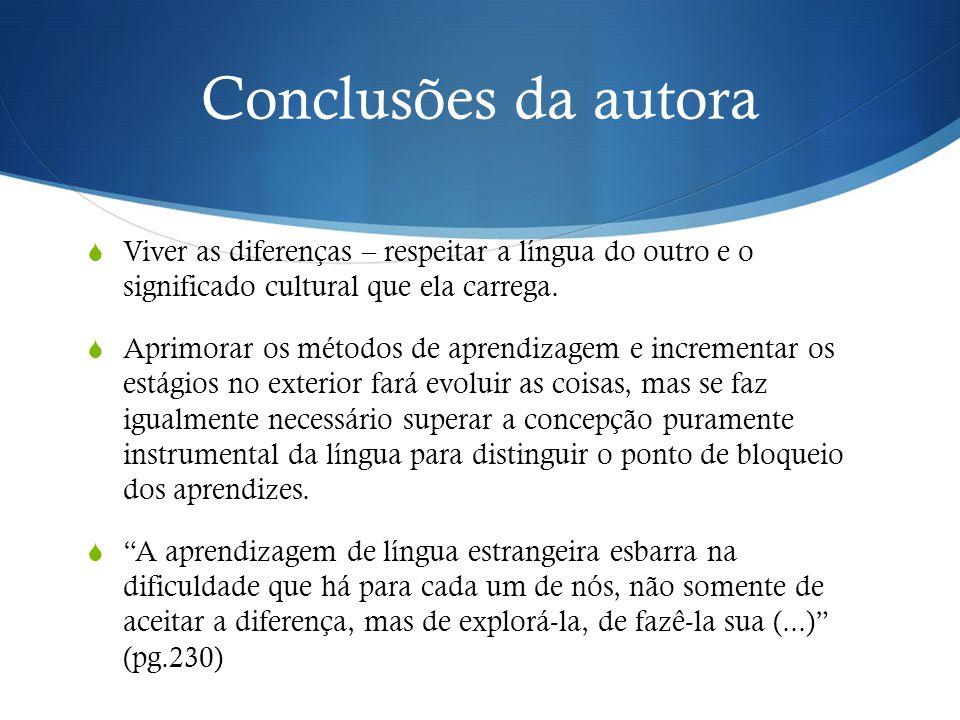 Conclusões da autora  Viver as diferenças – respeitar a língua do outro e o significado cultural que ela carrega.  Aprimorar os métodos de aprendiza