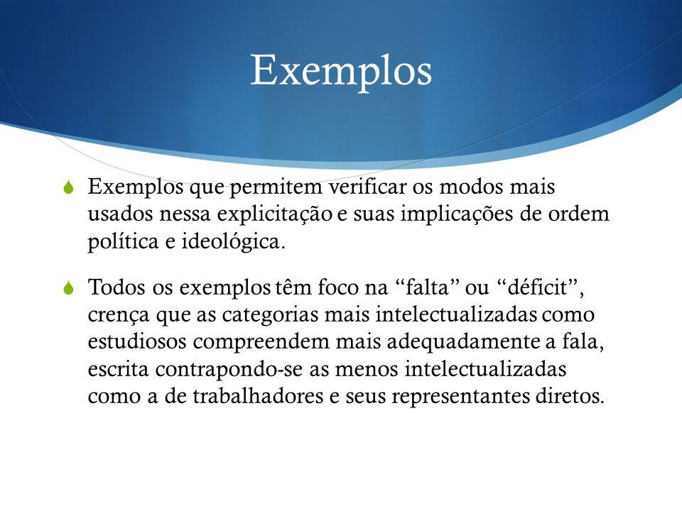 Exemplos  Exemplos que permitem verificar os modos mais usados nessa explicitação e suas implicações de ordem política e ideológica.  Todos os exemp