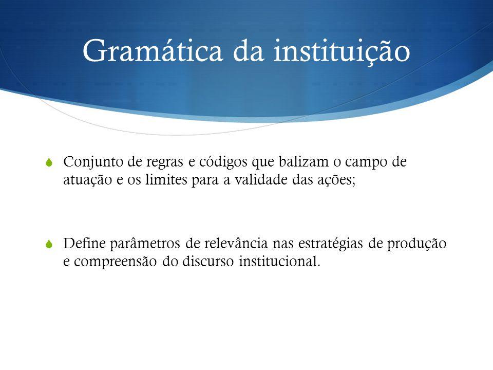 Gramática da instituição  Conjunto de regras e códigos que balizam o campo de atuação e os limites para a validade das ações;  Define parâmetros de