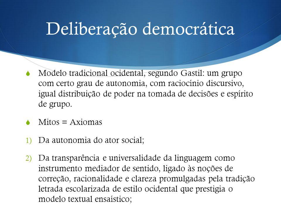 Deliberação democrática  Modelo tradicional ocidental, segundo Gastil: um grupo com certo grau de autonomia, com raciocínio discursivo, igual distribuição de poder na tomada de decisões e espírito de grupo.