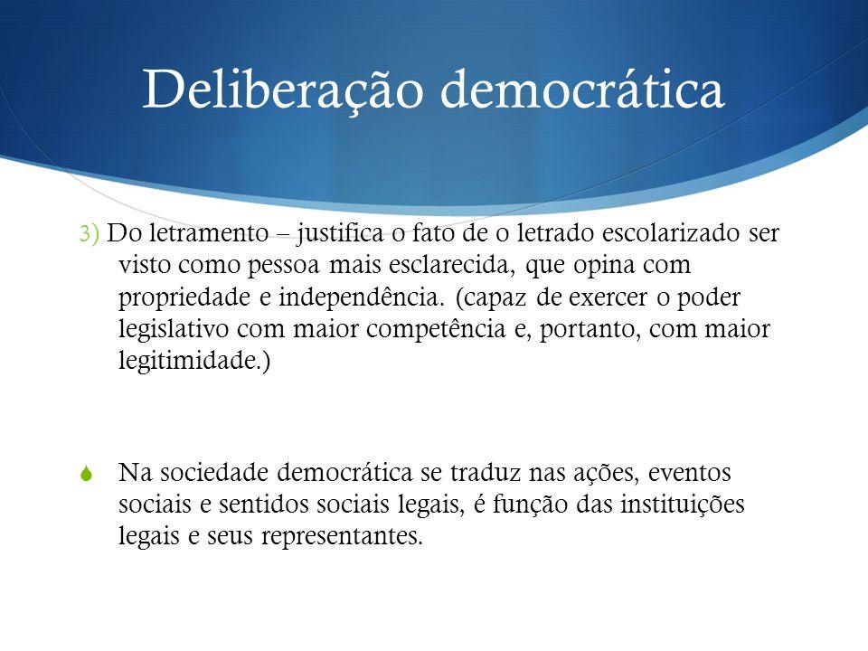 Deliberação democrática 3 ) Do letramento – justifica o fato de o letrado escolarizado ser visto como pessoa mais esclarecida, que opina com propriedade e independência.