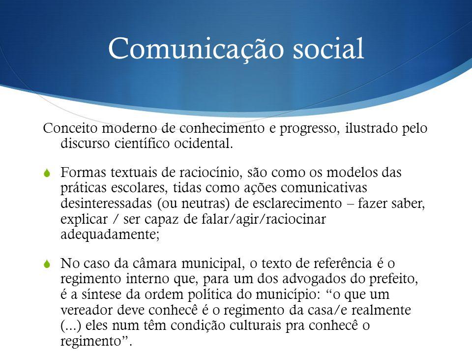 Comunicação social Conceito moderno de conhecimento e progresso, ilustrado pelo discurso científico ocidental.  Formas textuais de raciocínio, são co