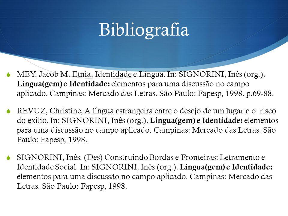Bibliografia  MEY, Jacob M. Etnia, Identidade e Língua. In: SIGNORINI, Inês (org.). Lingua(gem) e Identidade: elementos para uma discussão no campo a