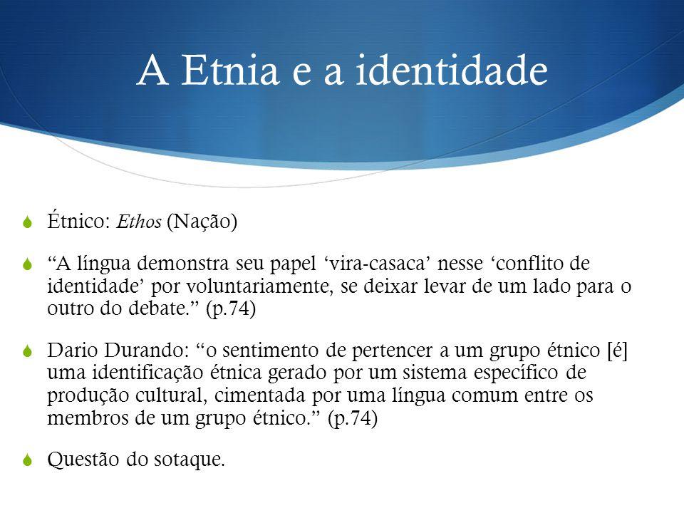 """A Etnia e a identidade  Étnico: Ethos (Nação)  """"A língua demonstra seu papel 'vira-casaca' nesse 'conflito de identidade' por voluntariamente, se de"""
