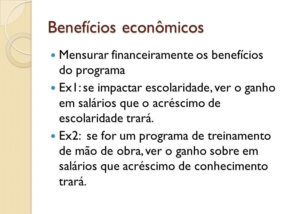 Benefícios econômicos Mensurar financeiramente os benefícios do programa Ex1: se impactar escolaridade, ver o ganho em salários que o acréscimo de escolaridade trará.