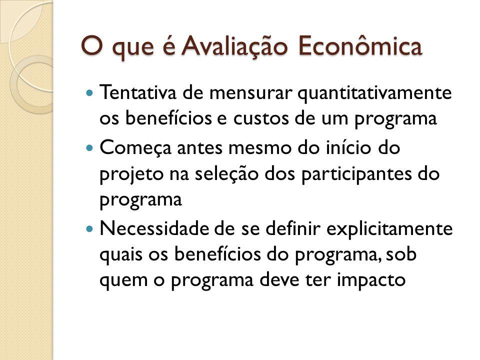 O que é Avaliação Econômica Tentativa de mensurar quantitativamente os benefícios e custos de um programa Começa antes mesmo do início do projeto na seleção dos participantes do programa Necessidade de se definir explicitamente quais os benefícios do programa, sob quem o programa deve ter impacto