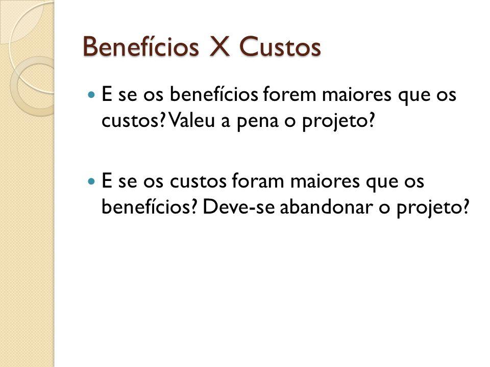 Benefícios X Custos E se os benefícios forem maiores que os custos.