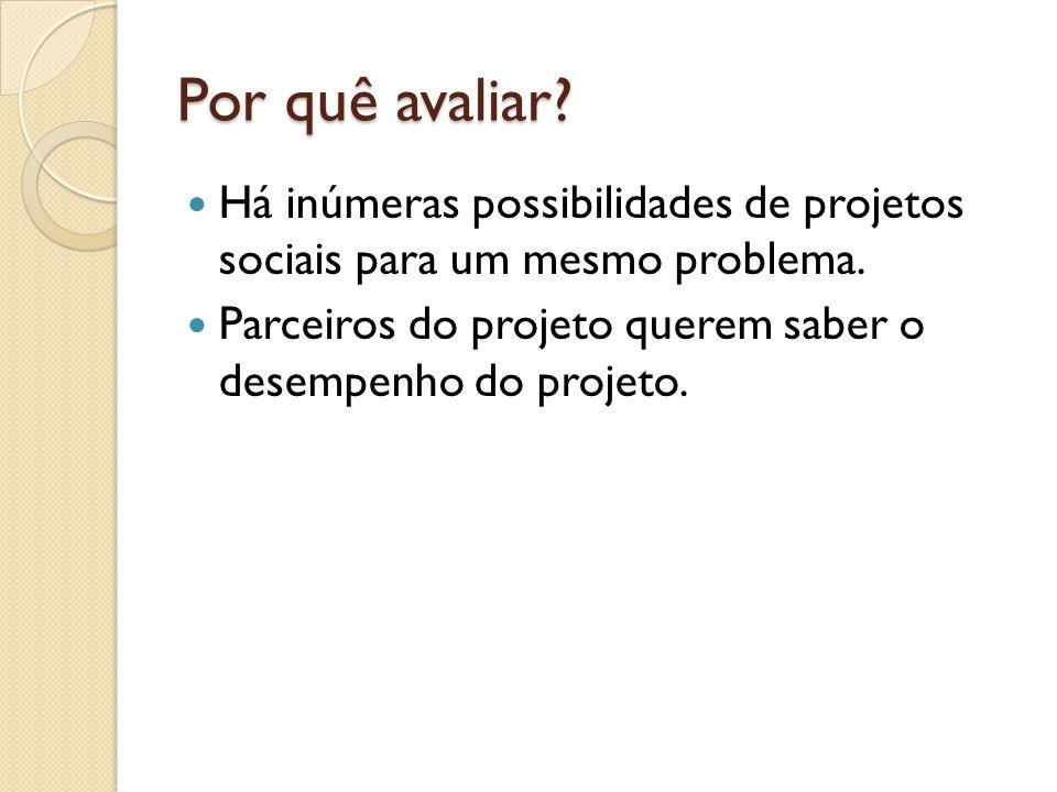 Por quê avaliar. Há inúmeras possibilidades de projetos sociais para um mesmo problema.