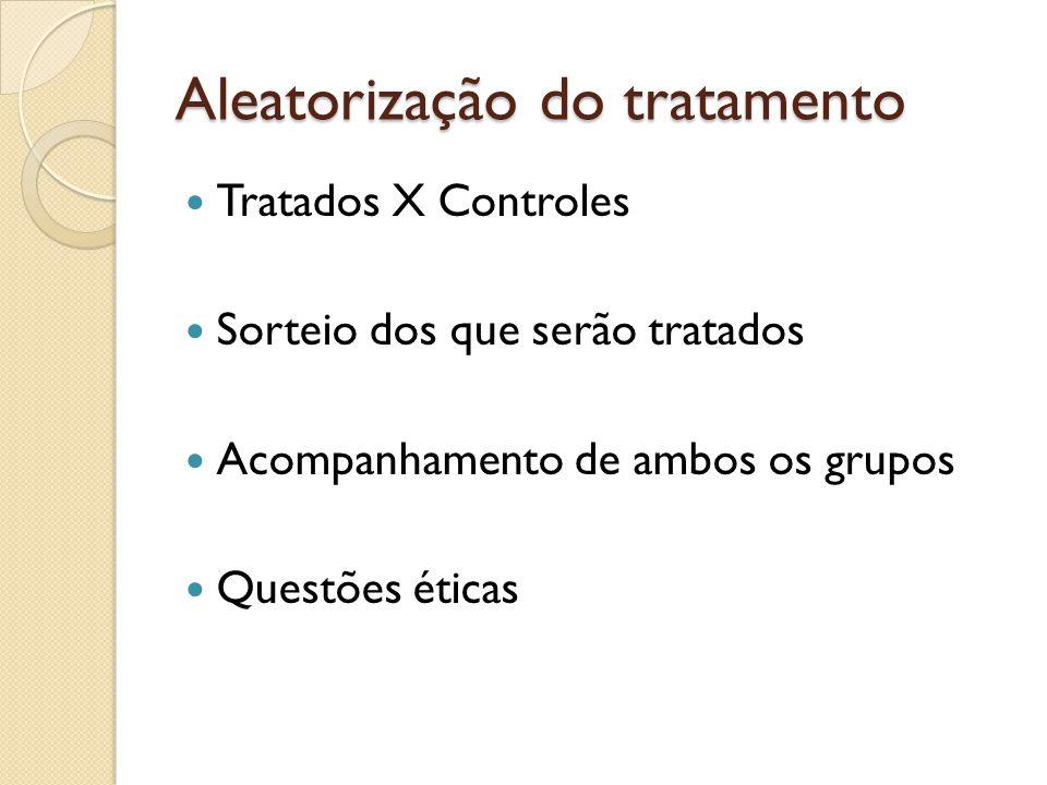 Aleatorização do tratamento Tratados X Controles Sorteio dos que serão tratados Acompanhamento de ambos os grupos Questões éticas