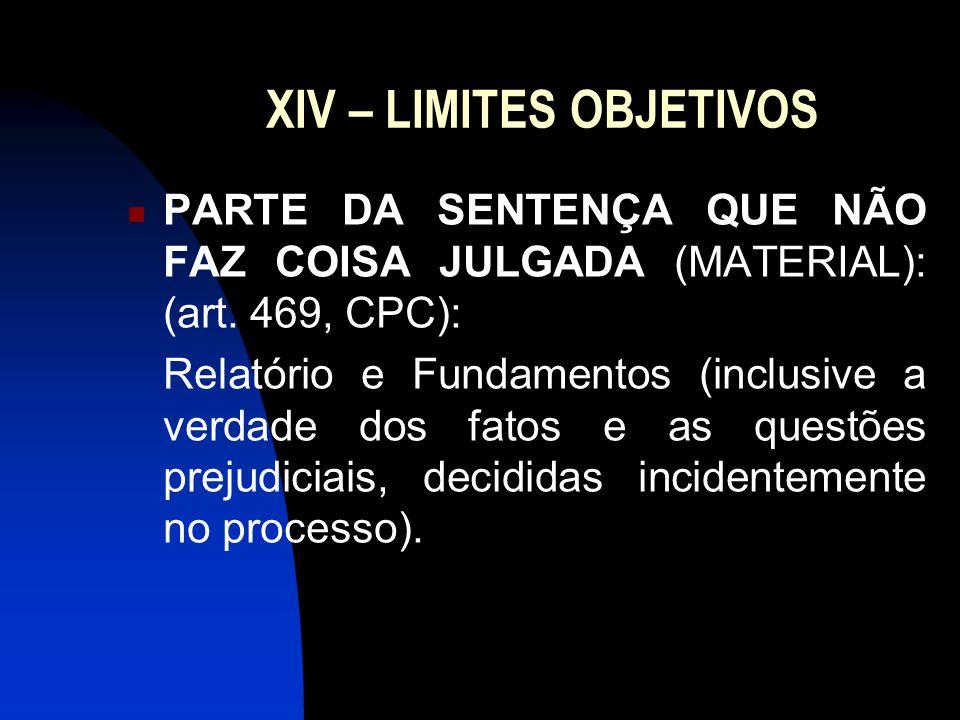 XV – LIMITES SUBJETIVOS A coisa julgada atinge somente as partes, não atingindo terceiras pessoas (Art.