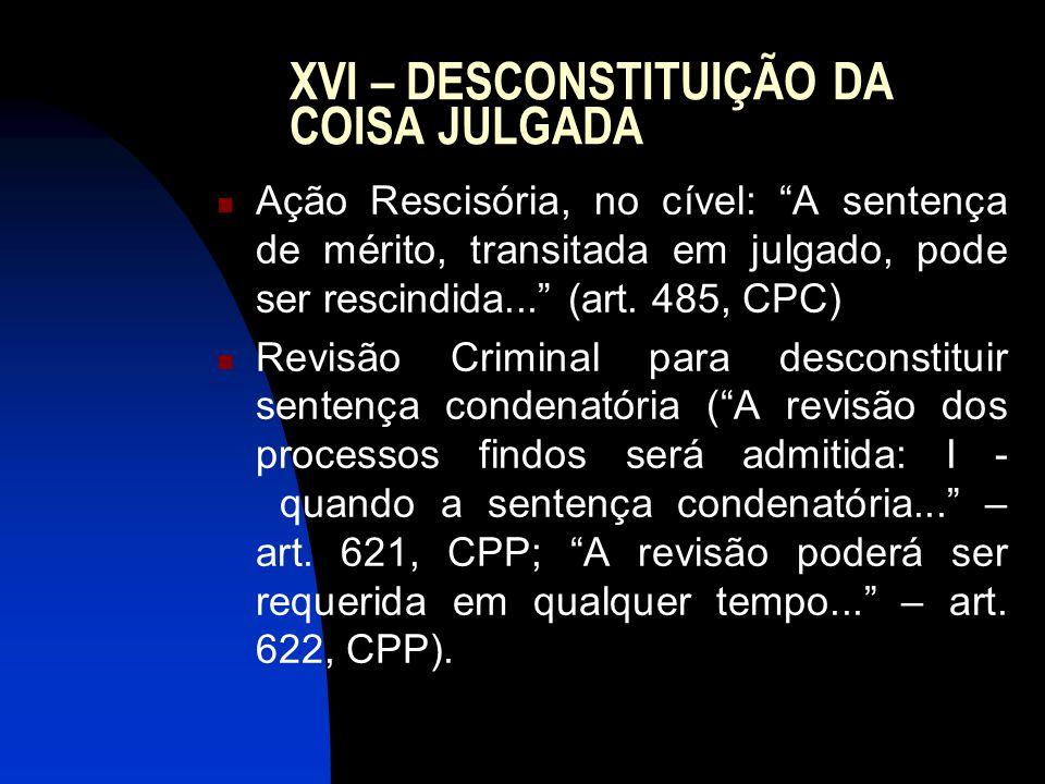 XVI – DESCONSTITUIÇÃO DA COISA JULGADA Ação Rescisória, no cível: A sentença de mérito, transitada em julgado, pode ser rescindida... (art.