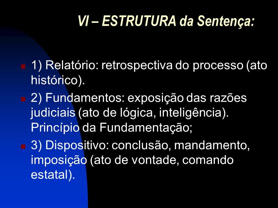 VII – CONDIÇÕES da Sentença Clara; Certa; Integral (completa) Concisa (na medida do possível).