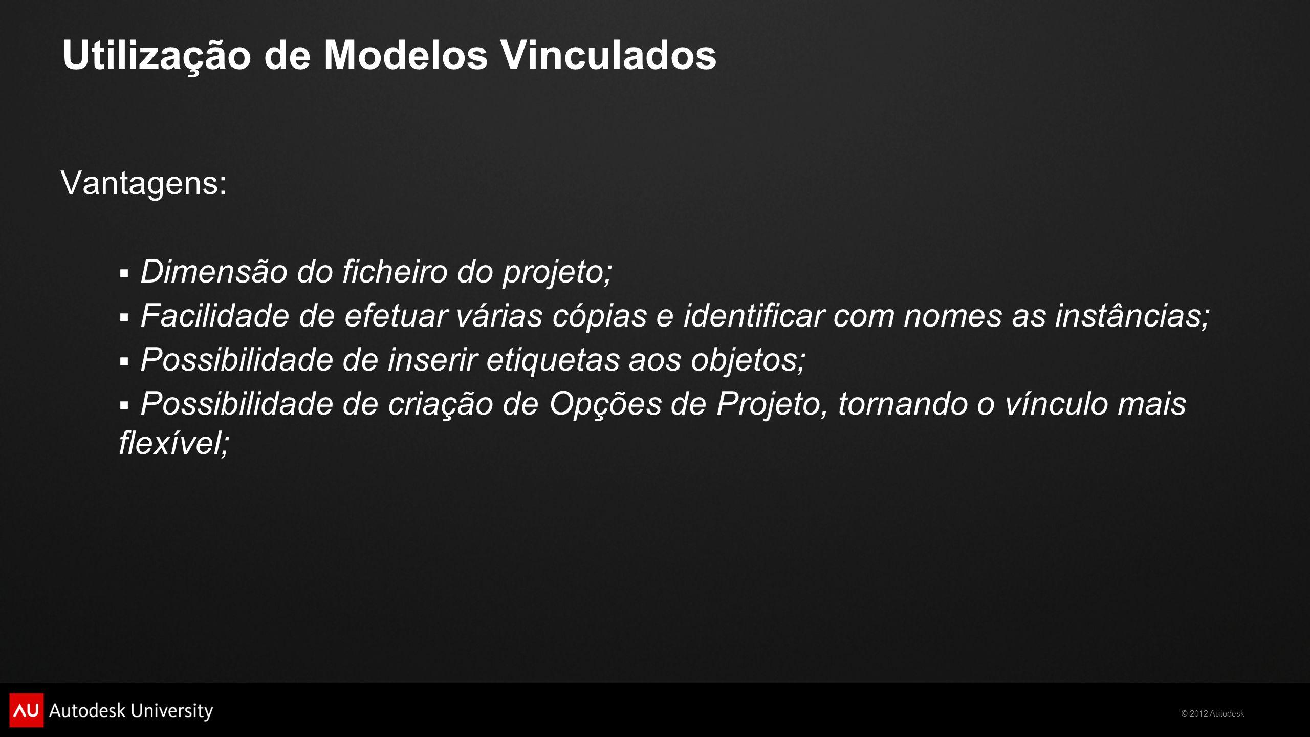 © 2012 Autodesk Desvantagens:  Alturas entre os pisos devem ser iguais;  Junções dos diferentes objetos quando se intersetam; Utilização de Modelos Vinculados