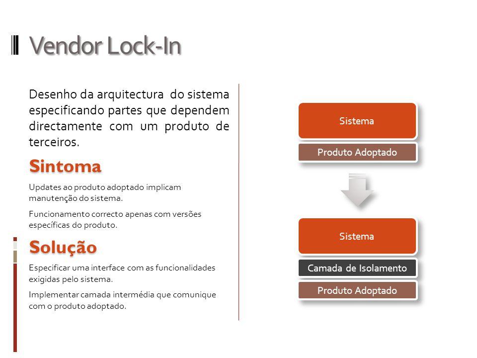 Vendor Lock-In Desenho da arquitectura do sistema especificando partes que dependem directamente com um produto de terceiros.Sintoma Updates ao produto adoptado implicam manutenção do sistema.