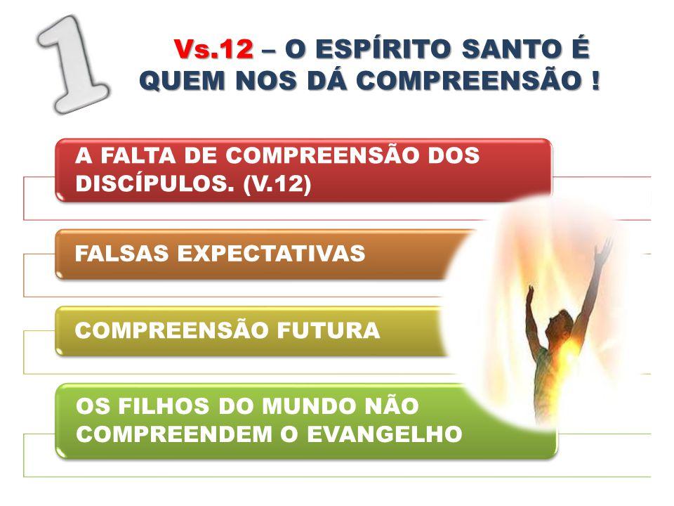 Vs.12 – O ESPÍRITO SANTO É QUEM NOS DÁ COMPREENSÃO ! A FALTA DE COMPREENSÃO DOS DISCÍPULOS. (V.12) FALSAS EXPECTATIVASCOMPREENSÃO FUTURA OS FILHOS DO