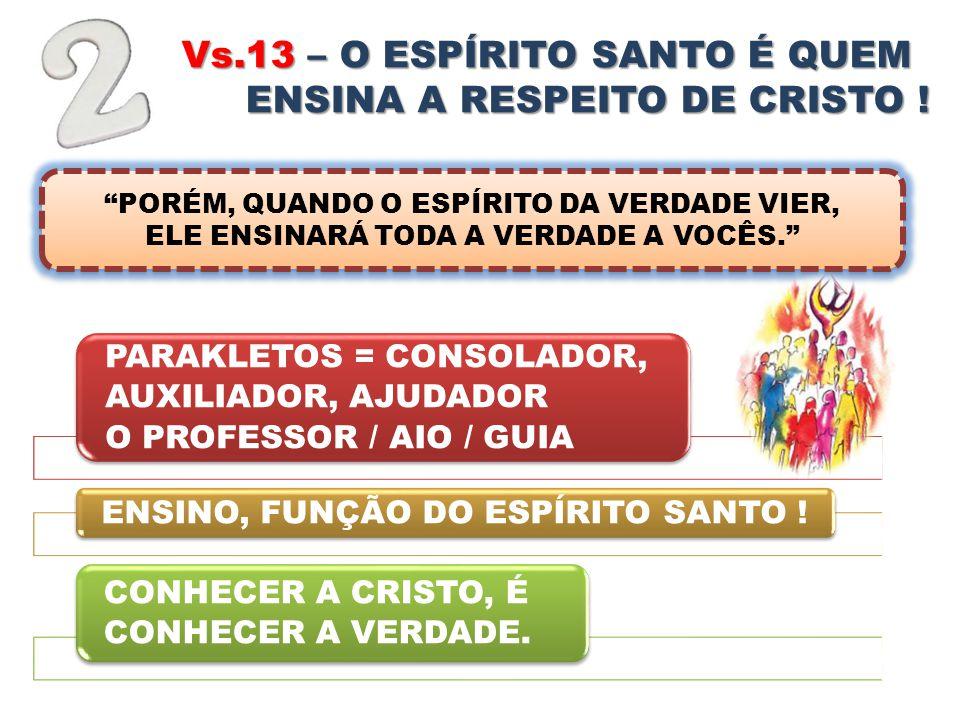 Vs.13 – O ESPÍRITO SANTO É QUEM NOS ENSINA A RESPEITO DE CRISTO ! PARAKLETOS = CONSOLADOR, AUXILIADOR, AJUDADOR O PROFESSOR / AIO / GUIA ENSINO, FUNÇÃ