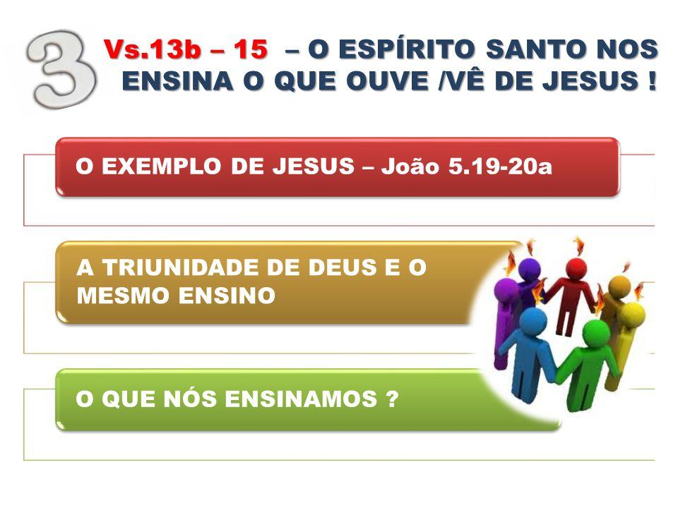 Vs.13b – 15 – – – – O ESPÍRITO SANTO NOS ENSINA O QUE OUVE /VÊ DE JESUS ! O EXEMPLO DE JESUS – João 5.19-20a A TRIUNIDADE DE DEUS E O MESMO ENSINO O Q