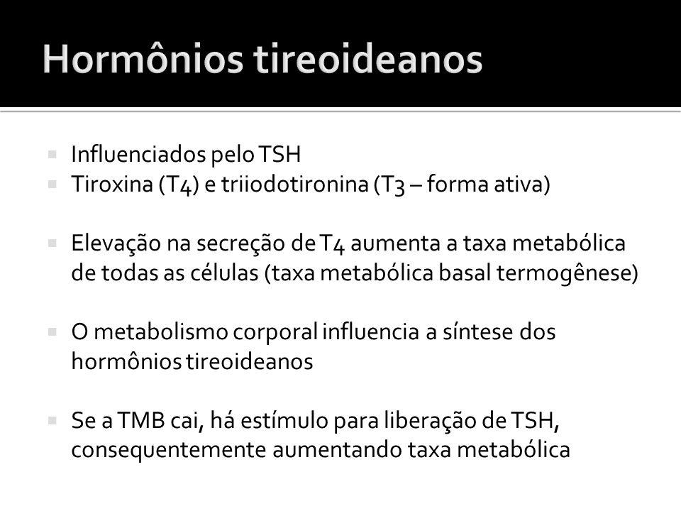  Influenciados pelo TSH  Tiroxina (T4) e triiodotironina (T3 – forma ativa)  Elevação na secreção de T4 aumenta a taxa metabólica de todas as célul