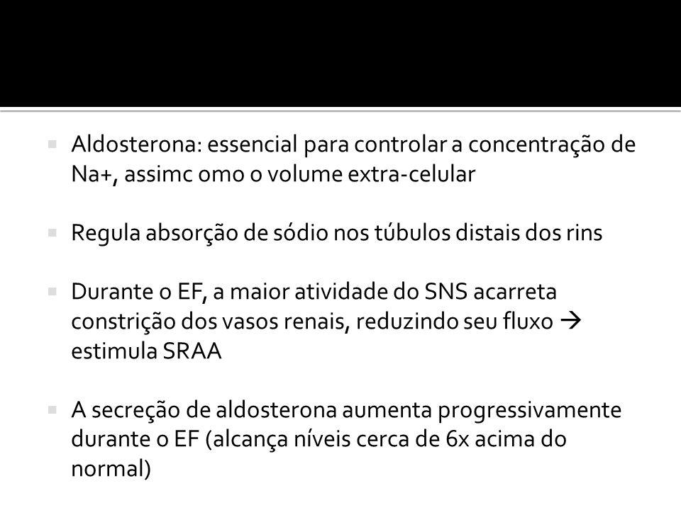  Aldosterona: essencial para controlar a concentração de Na+, assimc omo o volume extra-celular  Regula absorção de sódio nos túbulos distais dos ri