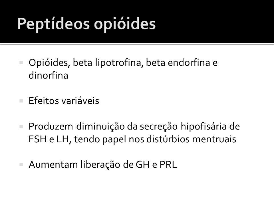  Opióides, beta lipotrofina, beta endorfina e dinorfina  Efeitos variáveis  Produzem diminuição da secreção hipofisária de FSH e LH, tendo papel no