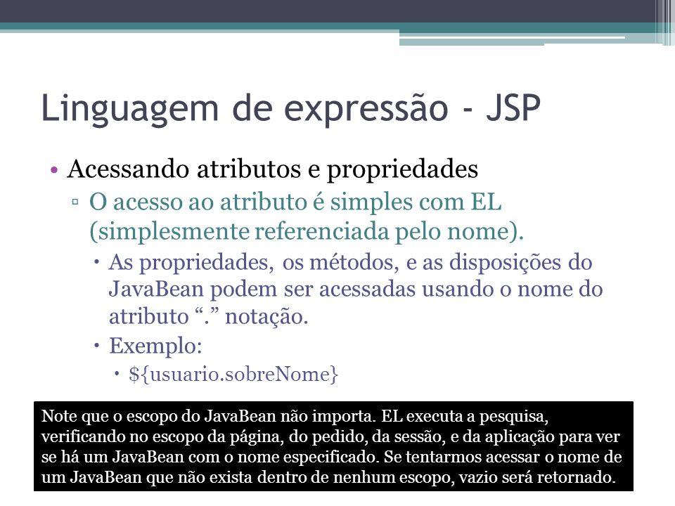 Linguagem de expressão - JSP Acessando atributos e propriedades ▫O acesso ao atributo é simples com EL (simplesmente referenciada pelo nome).  As pro