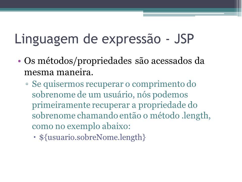 Linguagem de expressão - JSP Os métodos/propriedades são acessados da mesma maneira. ▫Se quisermos recuperar o comprimento do sobrenome de um usuário,