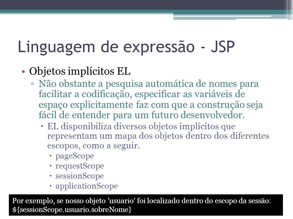 Linguagem de expressão - JSP Objetos implícitos EL ▫Não obstante a pesquisa automática de nomes para facilitar a codificação, especificar as variáveis