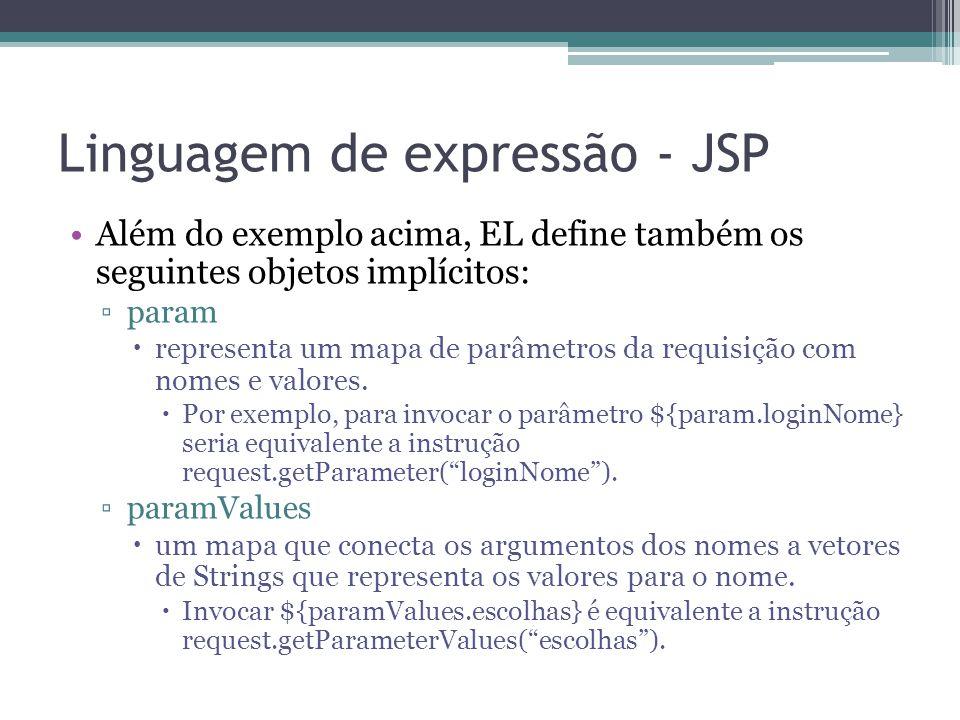 Linguagem de expressão - JSP Além do exemplo acima, EL define também os seguintes objetos implícitos: ▫param  representa um mapa de parâmetros da req