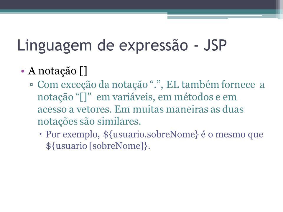 """Linguagem de expressão - JSP A notação [] ▫Com exceção da notação """"."""", EL também fornece a notação """"[]"""" em variáveis, em métodos e em acesso a vetores"""