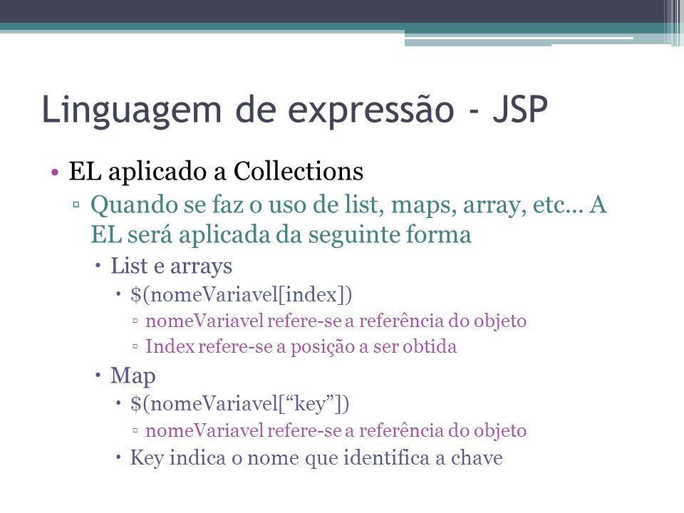 Linguagem de expressão - JSP EL aplicado a Collections ▫Quando se faz o uso de list, maps, array, etc... A EL será aplicada da seguinte forma  List e