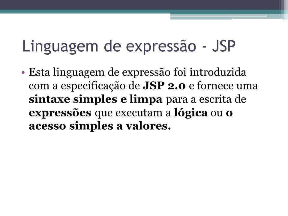 Linguagem de expressão - JSP Esta linguagem de expressão foi introduzida com a especificação de JSP 2.0 e fornece uma sintaxe simples e limpa para a e