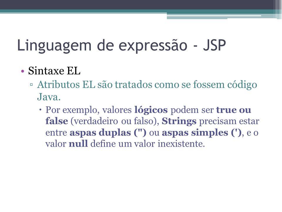 Linguagem de expressão - JSP Sintaxe EL ▫Atributos EL são tratados como se fossem código Java.  Por exemplo, valores lógicos podem ser true ou false