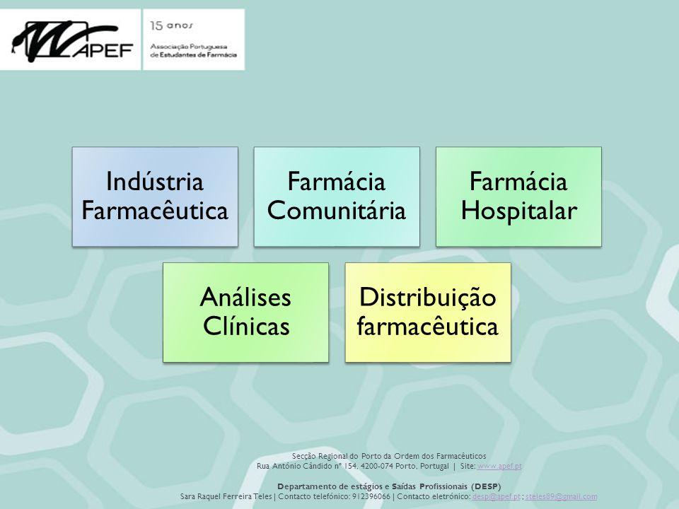 Secção Regional do Porto da Ordem dos Farmacêuticos Rua António Cândido nº 154, 4200-074 Porto, Portugal | Site: www.apef.ptwww.apef.pt Departamento de estágios e Saídas Profissionais (DESP) Sara Raquel Ferreira Teles | Contacto telefónico: 912396066 | Contacto eletrónico: desp@apef.pt ; steles89@gmail.comdesp@apef.ptsteles89@gmail.com Indústria Farmacêutica Farmácia Comunitária Farmácia Hospitalar Análises Clínicas Distribuição farmacêutica