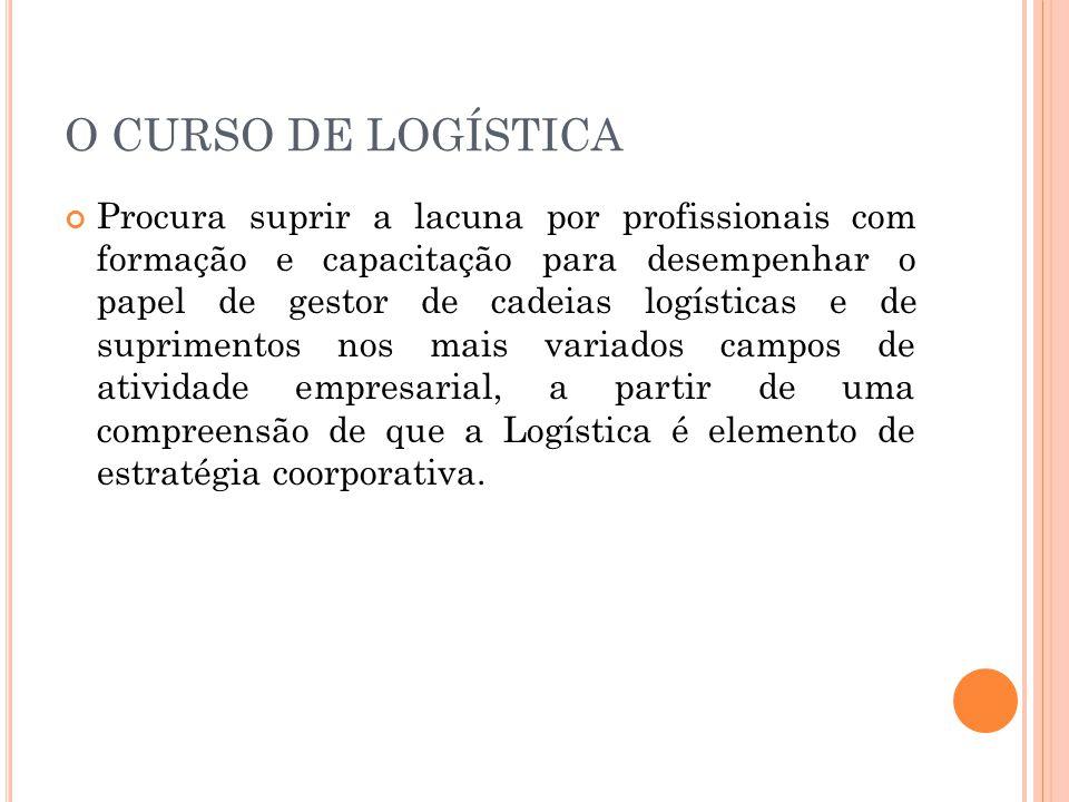 O CURSO DE LOGÍSTICA Procura suprir a lacuna por profissionais com formação e capacitação para desempenhar o papel de gestor de cadeias logísticas e d