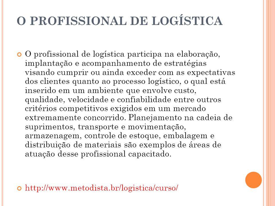O PROFISSIONAL DE LOGÍSTICA O profissional de logística participa na elaboração, implantação e acompanhamento de estratégias visando cumprir ou ainda