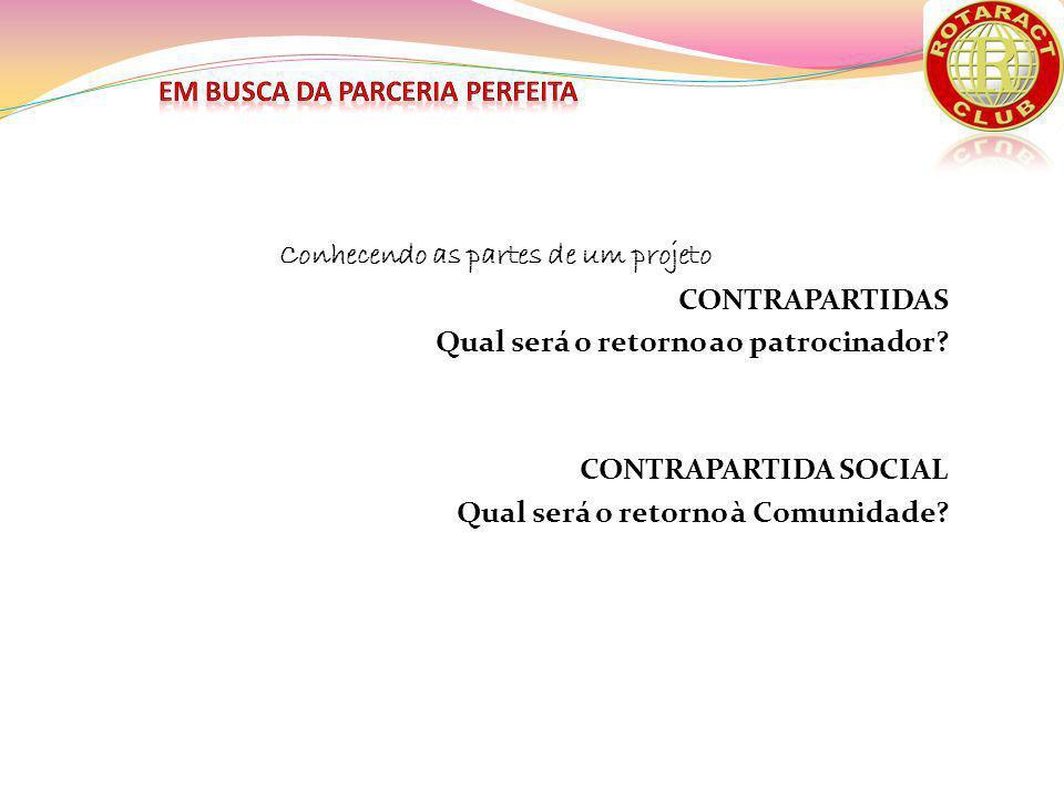 Conhecendo as partes de um projeto CONTRAPARTIDAS Qual será o retorno ao patrocinador.