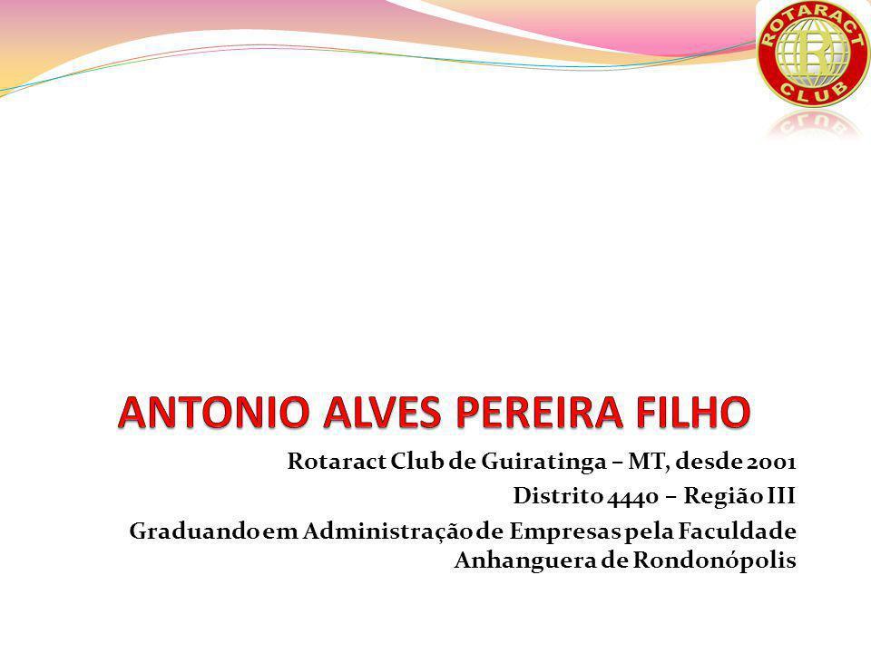 Rotaract Club de Guiratinga – MT, desde 2001 Distrito 4440 – Região III Graduando em Administração de Empresas pela Faculdade Anhanguera de Rondonópolis