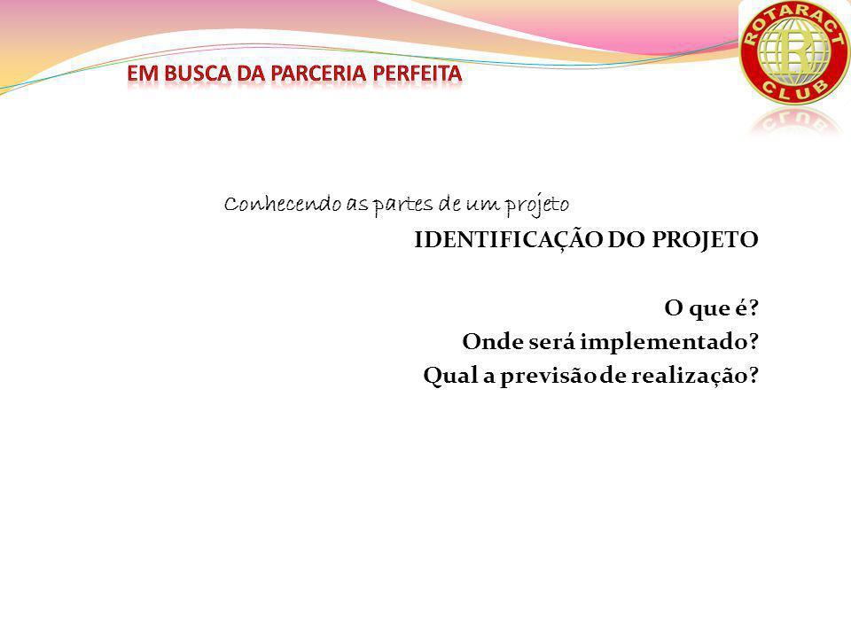 Conhecendo as partes de um projeto IDENTIFICAÇÃO DO PATROCINADO Quem propõem.