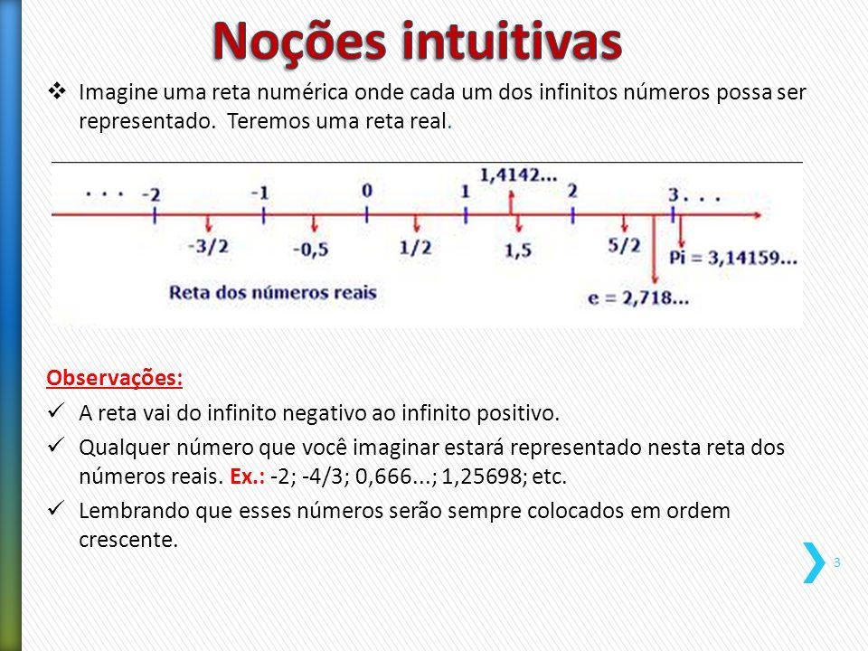  Imagine uma reta numérica onde cada um dos infinitos números possa ser representado. Teremos uma reta real. Observações: A reta vai do infinito nega