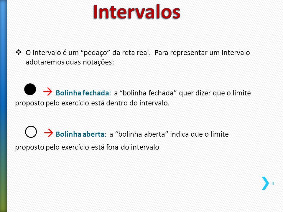 """ O intervalo é um """"pedaço"""" da reta real. Para representar um intervalo adotaremos duas notações:  Bolinha fechada: a """"bolinha fechada"""" quer dizer qu"""