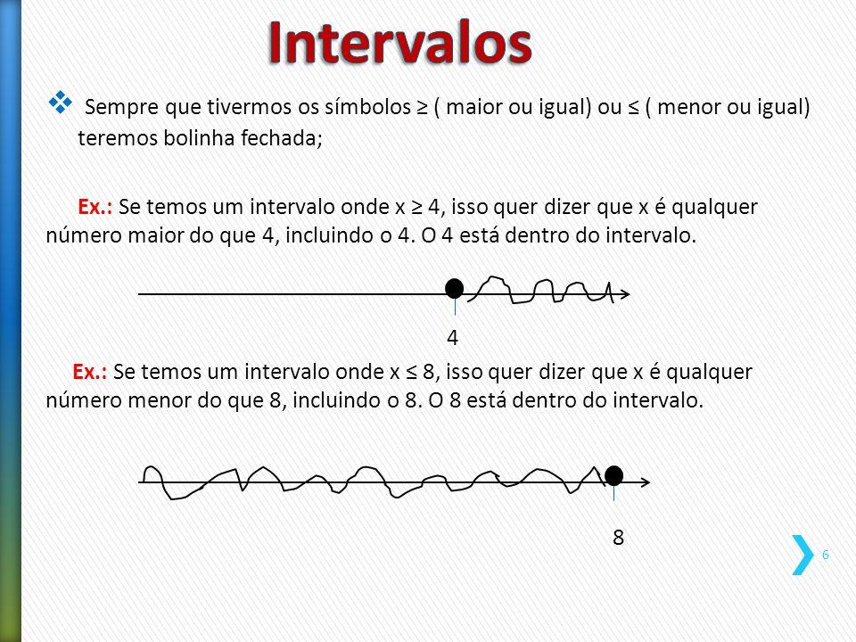  Sempre que tivermos os símbolos > ( maior) ou < ( menor) teremos bolinha aberta; Ex.: Se temos um intervalo onde x > 4, isso quer dizer que x é qualquer número maior do que 4, excluindo o 4.