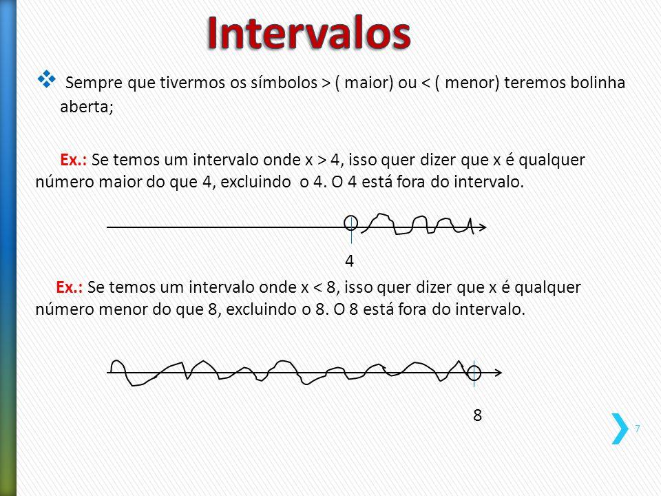  Sempre que tivermos os símbolos > ( maior) ou < ( menor) teremos bolinha aberta; Ex.: Se temos um intervalo onde x > 4, isso quer dizer que x é qual